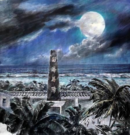 《南海日记——太平岛夜空云跟月》