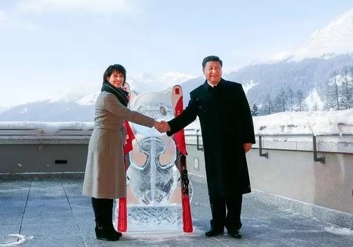 1月17日,国家主席习近平同瑞士联邦主席洛伊特哈德在达沃斯共同启动中瑞旅游年。