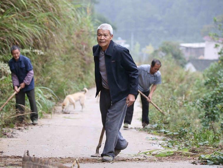 在刘继忠的影响下,村里一些老人也跟着他一起维护村道。通讯员陆仕臣(摄).jpg
